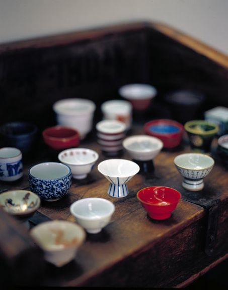 A multitude of sake cups in New Zealand carry connotations of home for Kinugawa. Photograph by Richard Powers.