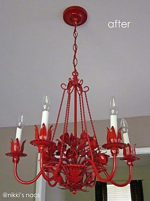 Brian has a new mission - find me an old, ornate chandelier so I can paint it red like this!