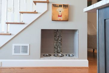 Transitional Kitchen transitional-staircase built in dog or cat food dishes