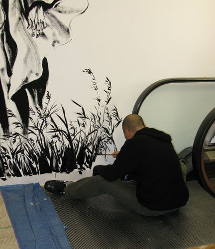 Takehiko Inoue painting at Kinokuniya NYC