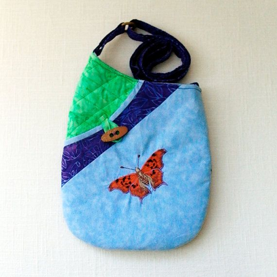 Small Quilted Shoulder Bag Purse with Question Mark Butterfly