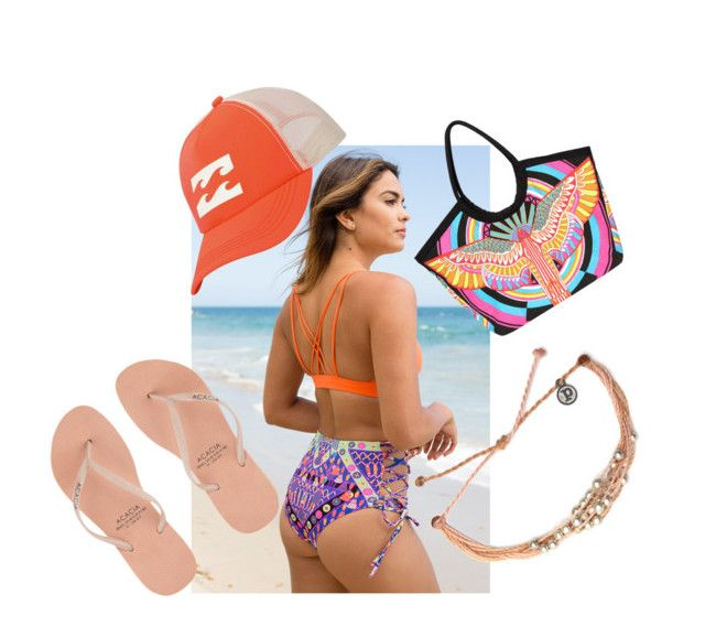 """Beachy Orange Collection with Mara Hoffman Swimwear"" by thegirlandthewater ❤ liked on Polyvore featuring Pura Vida, Mara Hoffman, Billabong and Acacia Swimwear"
