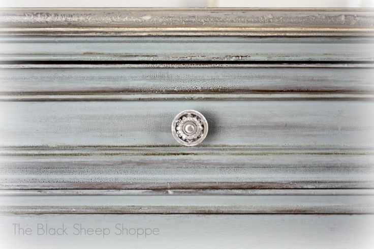 Vintage Chest of Drawers: Custom Mix of Chalk Paint. Coco as base with a mix of Duck Egg and Paris Grey. The paint was sanded back to reveal the texture of the old varnish.