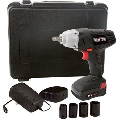 FREE SHIPPING — Ironton 18 Volt Lithium-Ion Cordless Impact Wrench Kit with Detent Pin and Socket Set — 1/2in. Drive, 207 Ft.-Lbs. Torque, 1 Battery