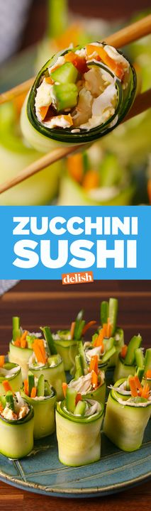 Zucchini Sushi is the best thing that will ever happen to your body. Get the recipe from Delish.com.