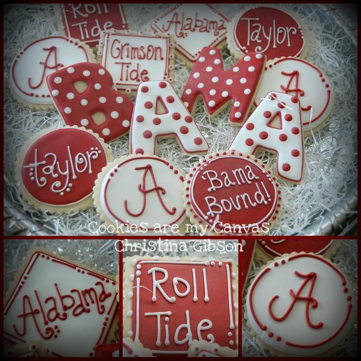Alabama Crimson Tide Cookies Tide Rolls, Alabama Football Cookies Cake, Alabama Rolls, Alabama Crimson Tide Cake, Tide Cookies, Alabama Parties, Rolls Tide, Alabama Football Food, Alabama Cookies