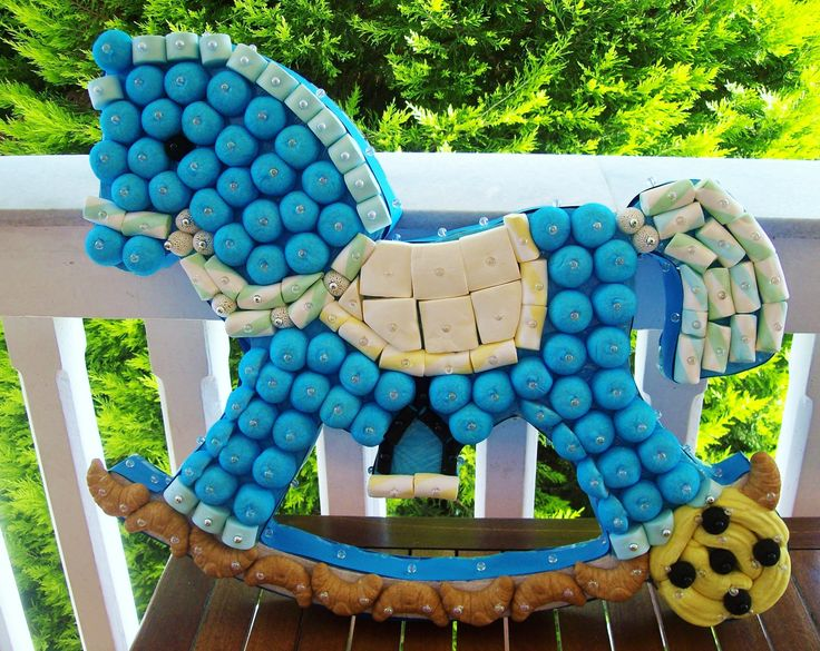 Marshmallow and candy rocking horse