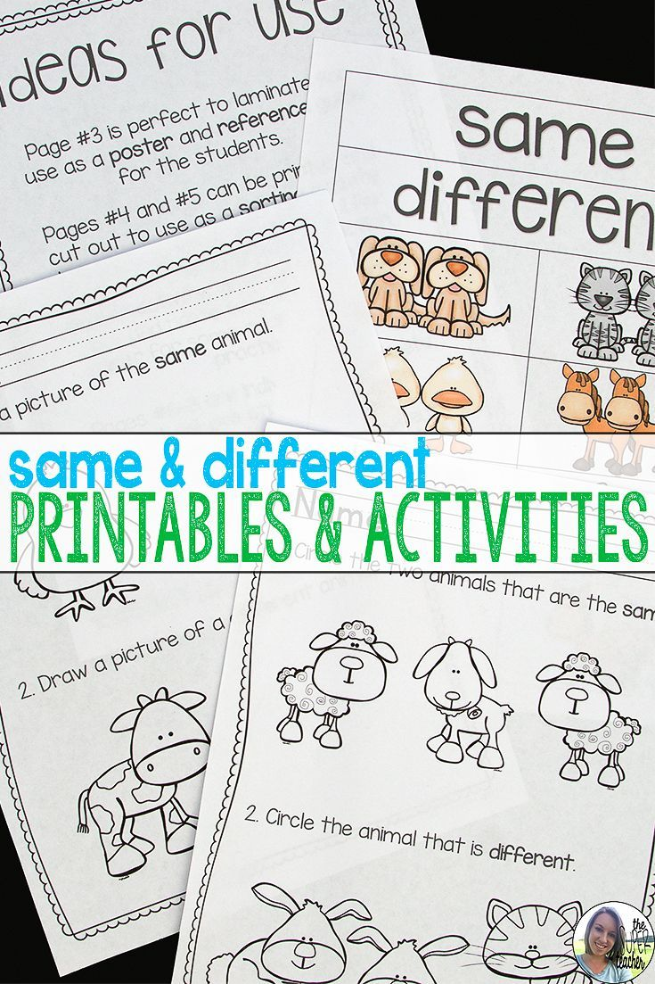 worksheet Same And Different Worksheets 15 best same and different images on pinterest preschool this packet of worksheets activities posters feature adorable farm babies that provide opportunities
