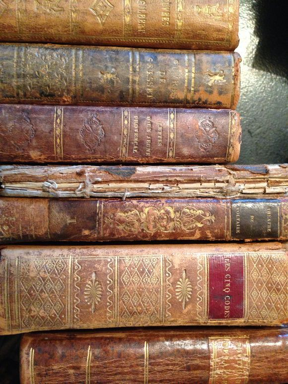 """1800's French Leather Books... """"A capacity, and taste, for reading, gives access to whatever has already been discovered by others. It is the key, or one of the keys, to the already solved problems."""" _Abraham Lincoln"""