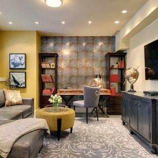 Great #design! #traditional #basement · Basement Home OfficeBasement ...