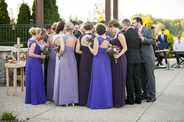 Bridal Party & Family pray silently around Bride & Groom after Unity Ceremony, but before the unity song finishes — Wachter Wedding — Bellagala Photography