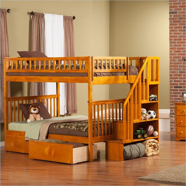 Woodland Twin Over Caramel Staircase Bunk Bed