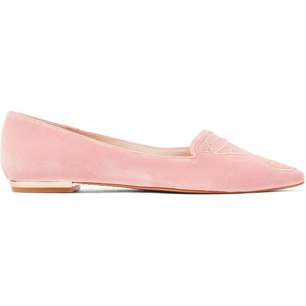 Sophia Webster Bibi Butterfly embroidered velvet point-toe flats ($365) ❤ liked on Polyvore featuring shoes, flats, pastel pink, pink pointed toe flats, pink velvet shoes, flat pumps, pointy-toe flats and embroidered shoes