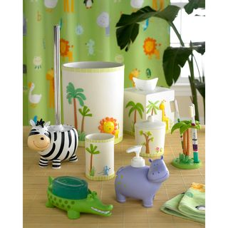 @Overstock.com - Safari Bath Accessory Collection - Bring the wild into your child's bathroom with this imaginative safari bath accessories collection. Fanciful three-dimensional animal designs adorn wastebasket and tissue box, while zebra, hippo, and alligator accessories will look great on the counter.  http://www.overstock.com/Bedding-Bath/Safari-Bath-Accessory-Collection/7828060/product.html?CID=214117 $21.99