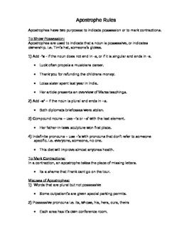 Grammar Apostrophe Rules Notes And Worksheet Apostrophe Rules Worksheets Apostrophes