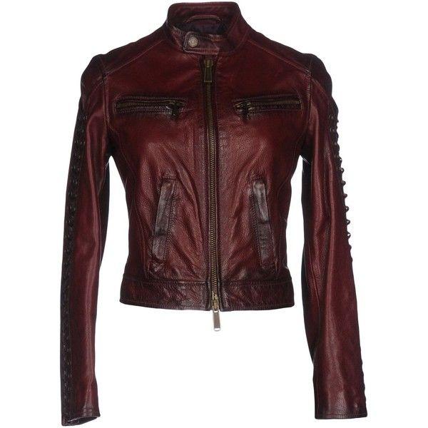 Dsquared2 Jacket (82.500 RUB) ❤ liked on Polyvore featuring outerwear, jackets, garnet, mandarin collar jacket, genuine leather jackets, single breasted jacket, red jacket and genuine leather biker jacket