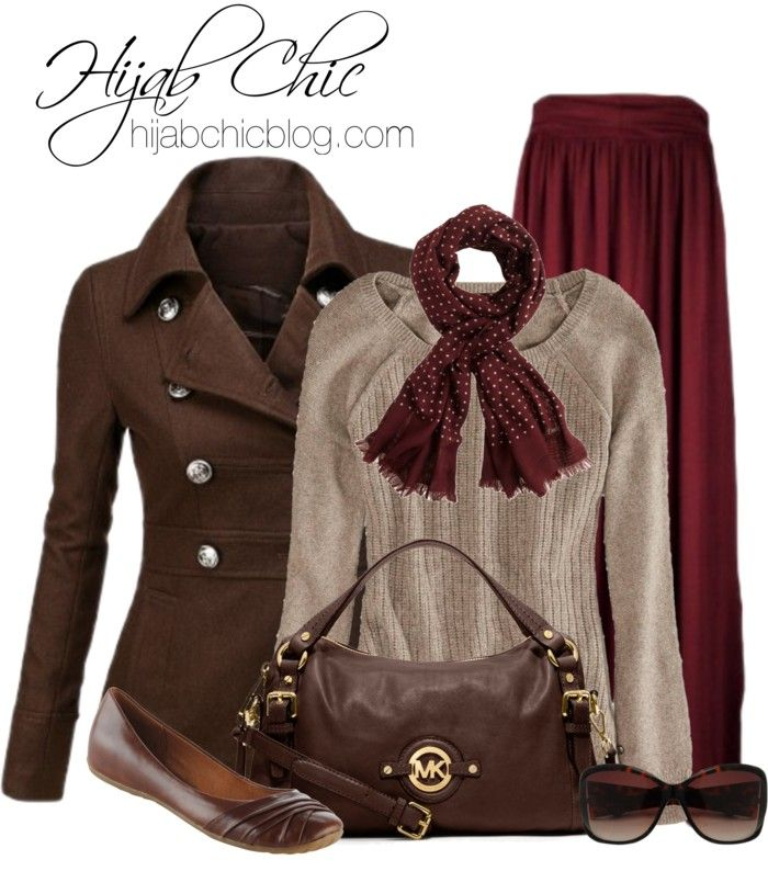 Winter Hijab Style: Brown Peacoat-- I have been looking for a brown peacoat for years, I like everything except the skirt and purse, the purse isn't bad, i just feel it could be better