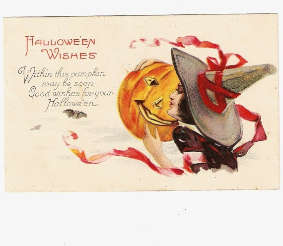 Witch JOL Pumpkin Jack O Lantern Bats Halloween Postcard   Red Ribbon  Around Witch Hat · Scary HalloweenHappy HalloweenHalloween WishesHalloween  ...