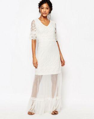 Boohoo Crochet Lace Maxi Dress
