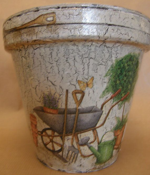 The garden tools motive flower pot by AmaranthCat on Etsy