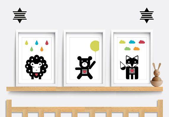 Set of 3 animal prints. Baby Nursery print. Kids bedroom wall art. Baby nursery decor. Nursery art. Sheep. Bear. Fox print. Animal prints