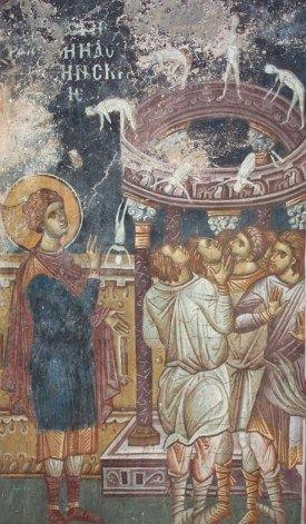 Saint George topples the pagan idols; Decani, 14th Century