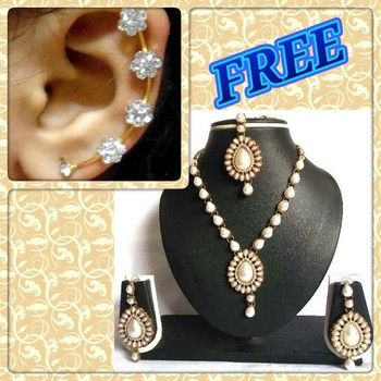 Buy 1 Get 1 Free White Pearl  Kunadan Necklace Set