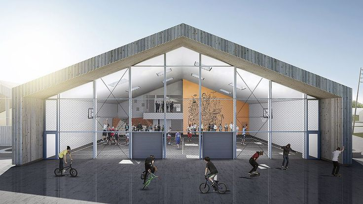 """""""Hjertet"""" (the Heart) in Ikast by C.F. Møller Architects, a multi-stakeholder building combining an expansion of the International School Ikast-Brande with public sports and job training facilities for a wide group of users."""