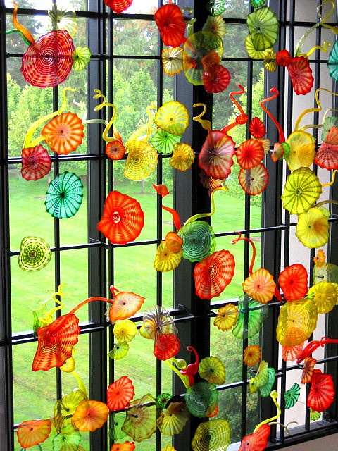 Wyatt Hall (decked out in the glasswork of Chihuly) at University of Puget Sound....