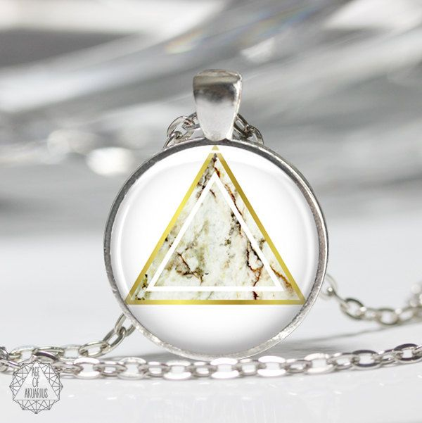 Marble Triangle Pendant Necklace | Triangle Necklace Marble Necklace Boho Jewelry Marble Jewelry Geometric Necklace Gold Modern Aesthetic by AgeOfAkuarius on Etsy