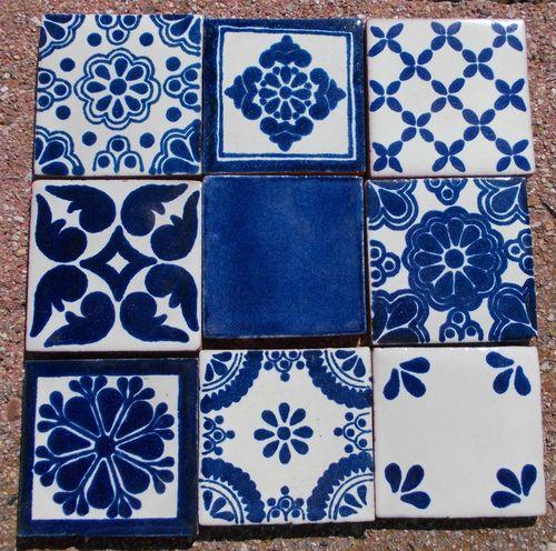 """18 Mexican Talavera Pottery 2"""" Clay Tile Mix Blue Azul Cream White Venice CD   eBay"""