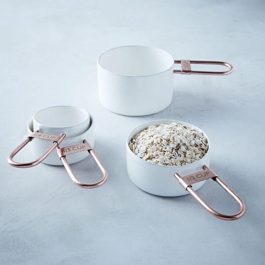 Copper + Enamel Measuring Measuring Cups, Set of 3, White/Copper
