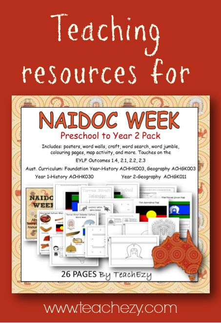 A resource pack to help commemorate NAIDOC Week.  Includes: posters, word walls, craft, word search, word jumble, colouring pages, map activity, and more.