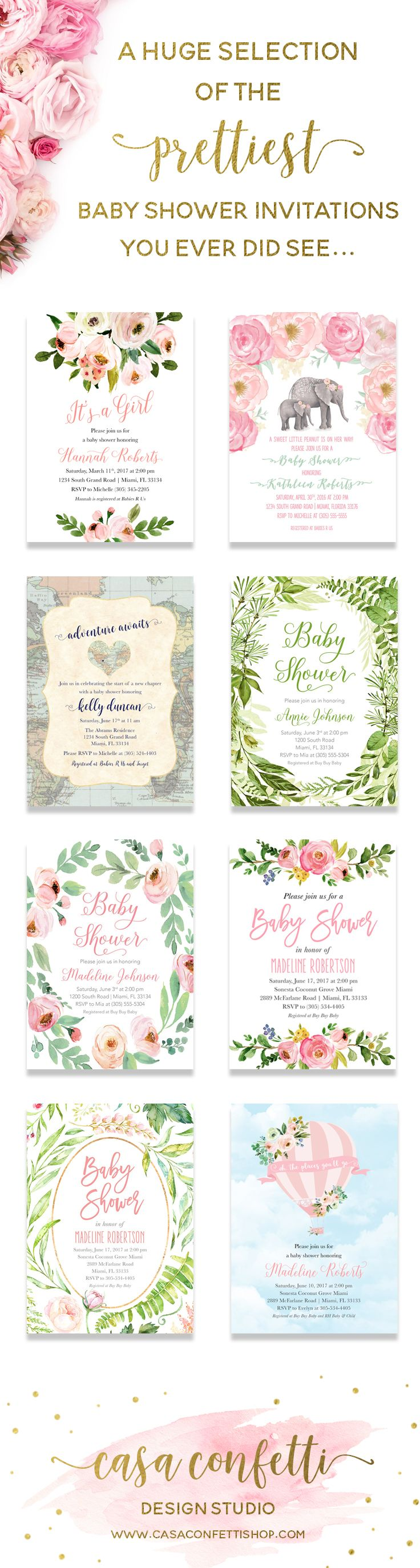 Casa Confetti Design Studio offers a huge selection of the prettiest baby shower invitations! Floral, greenery, elephant, travel, whatever your theme, we've got it!