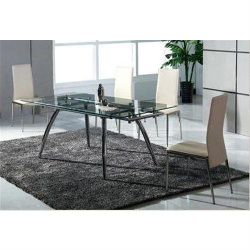 new modern 6 seater 153 210l x 90w x 75h extendable glass top dining