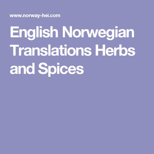 English Norwegian Translations Herbs and Spices