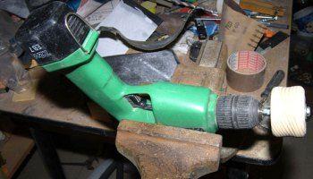 Improvised Cordless Drill Woodworking Lathe