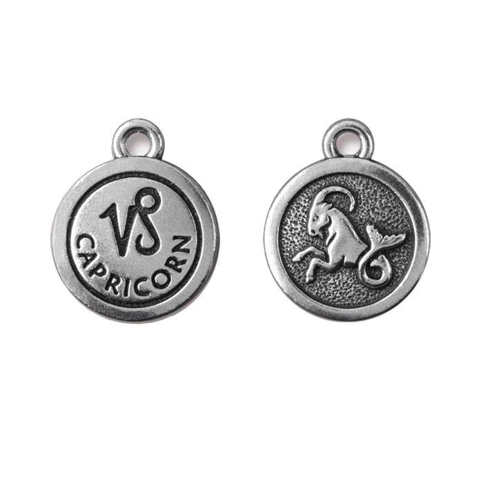 Capricorn Charm Antique Silver