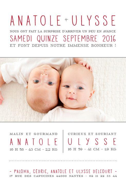 Faire-part naissance À la une ! jumeaux par Marianne Fournigault pour www.fairepartnaissance.fr #fairepartnaissance #jumeaux #birthannouncement