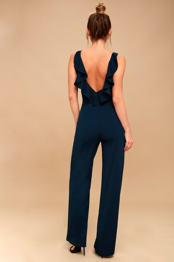 e6761244cf0c Enamored Navy Blue Backless Jumpsuit in 2019