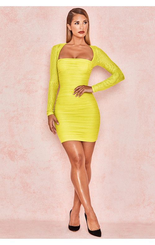 f9fccb3b43d Clothing   Bodycon Dresses    Valentina  Chartreuse Long Sleeved Ruched  Organza Mesh Dress