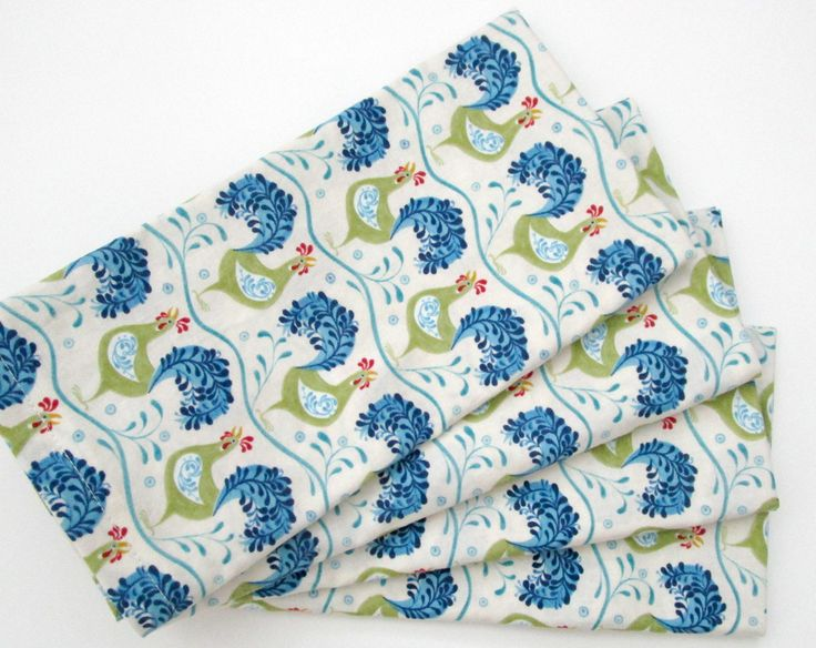 Large Cloth Napkins - Set of 4 - Blue Green Cream Off-White Chickens - Dinner, Table, Everyday by ClearSkyHome on Etsy