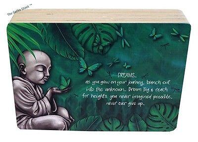 Earthing DREAM Wooden Affirmation Plaque Freestanding Monk Buddha Lisa Pollock