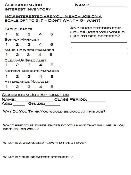 Best  Classroom Job Application Ideas On   School