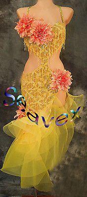 Mujeres Salón De Baile Salsa Rumba Latino CHA Danza Vestido EE. UU. 10 Reino Unido 12 carne Amarillo Rosa