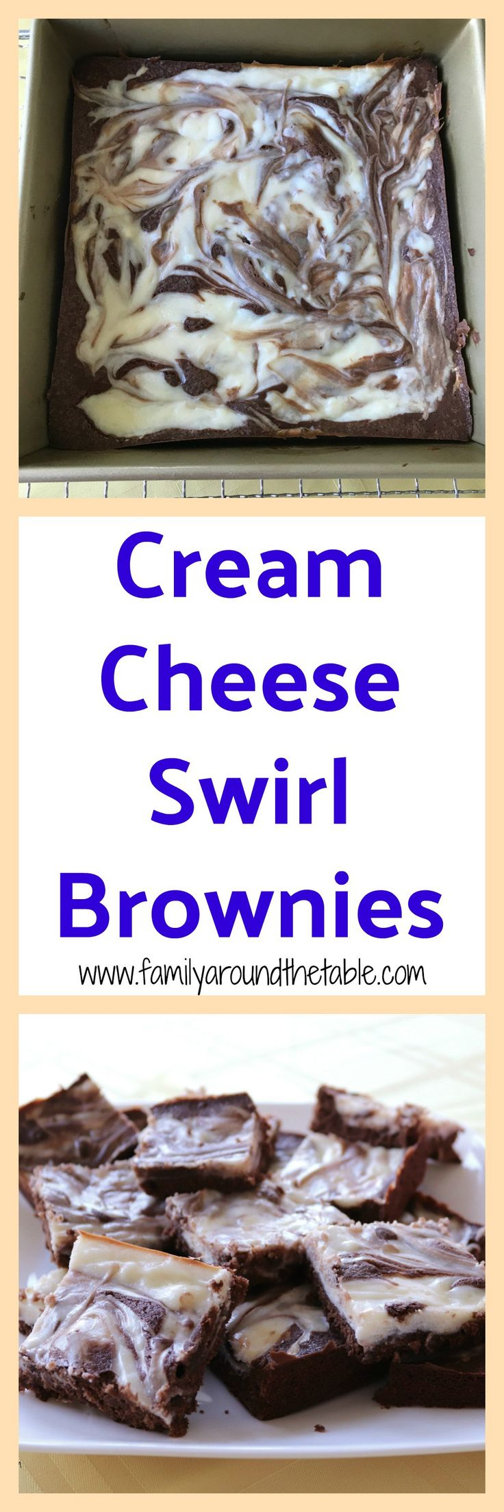 Cream cheese swirl brownies are moist and delicious.