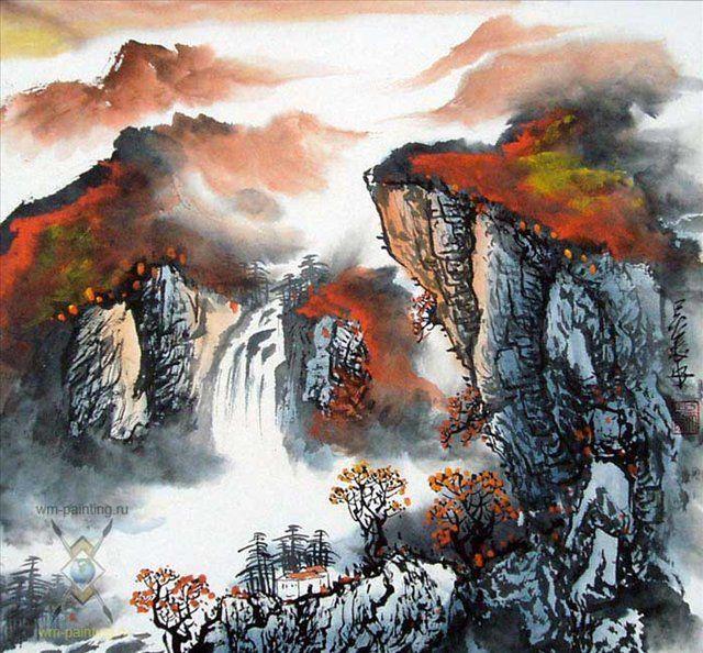 Горный водопад осенью ::  У Чань Янь ( Ву Чанган) ( Китай ) - Китай традиционная живопись Гохуа