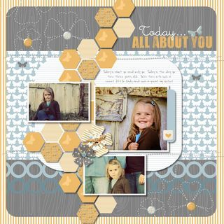 hexagon punch scrapbook layout | This is a digital layout you can find in the CM Project center but it ...