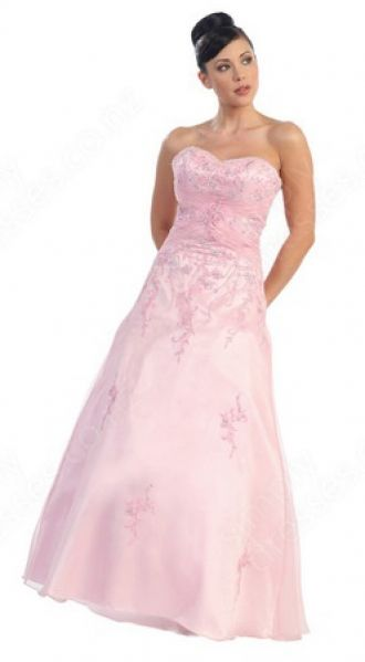 A-line Sweetheart Organza Floor-length Pink Embroidery Prom Dress