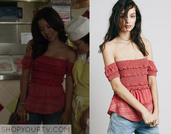 Mariana Foster (Cierra Ramirez) wears this pink layered shirred off the shoulder top in this week's episode of The Fosters. NBNB - Similar to the red skirt I loved